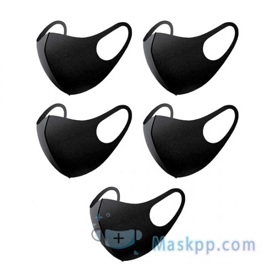 5 Pcs Light Weight Unisex Adult Fashion Face Covering Reusable - DustProof Washable - Black