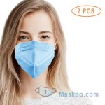 2 Pcs 5 Layer Protection Breathable Face Mask - Sapphire Blue