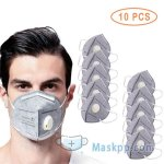 10 Pcs Disposable Air Purifier Facial Masks with Filter Valve - Gray