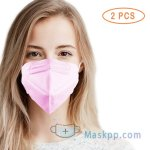 2 Pcs 5 Layer Protection Breathable Face Mask - Hot Pink