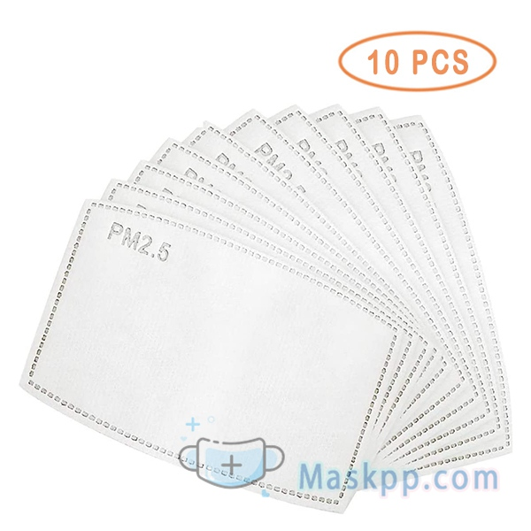 10 Disposable Face Mask Filters PM2.5 Activated Carbon Insert Replacement Pad