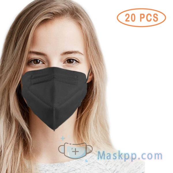 20 Pcs 5 Layer Protection Breathable Face Mask - Black - Filtration>95%