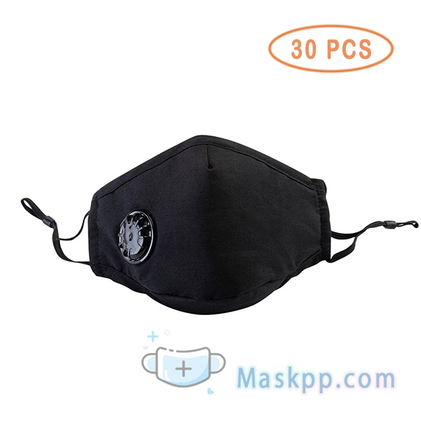 30 Pcs Face Mask Washable Reusable Anti-fog PM2.5 Mask With Breathing Valve - Black