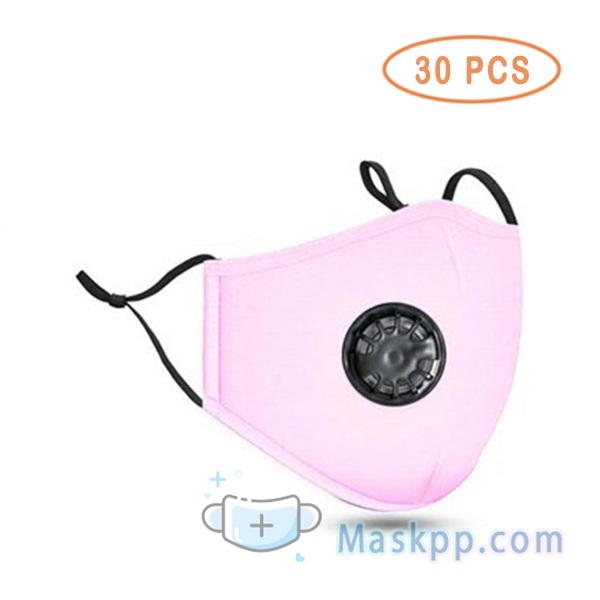 30 Pcs Face Mask Washable Reusable Anti-fog PM2.5 Mask With Breathing Valve - Pink