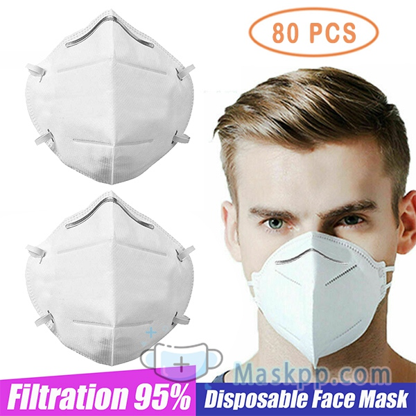80 Pcs Disposable Mask Breathable Comfortable Face Mask Dust PM2.5